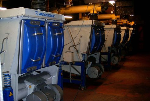 A row of Mogensen Sizers G1036, sorting iron powder